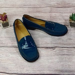 Cole Haan Patent Leather Loafers Teal 8B